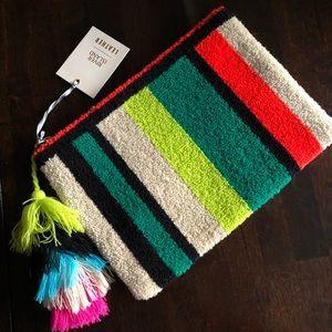River Island leather stripe pompom bag new + tags